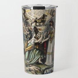 Raphael's Prophetic Almanack: beggars at a rich man's door, a funeral, and a shipwreck (1852) Travel Mug