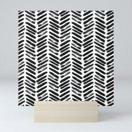 Simple black and white handrawn chevron - horizontal Mini Art Print