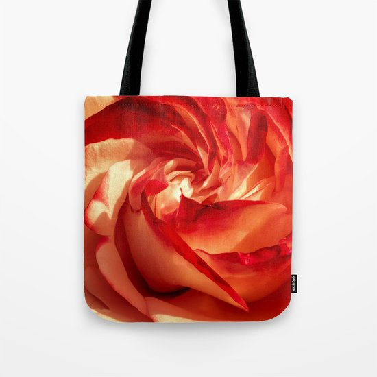 In fire - red and orange rose flower on #Society6 Tote Bag