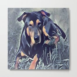 Black and Tan Coonhound Puppy Metal Print