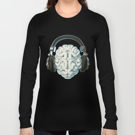 Mind Music Connection /3D render of human brain wearing headphones Long Sleeve T-shirt