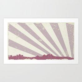 Town Silhouette Grunge Art Print