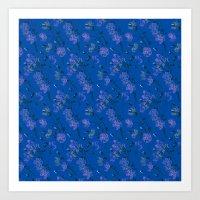 Poppy Floral - Blue Art Print