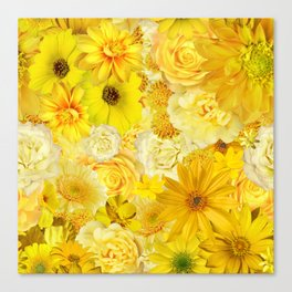 Yellow Rose Bouquet with Gerbera Daisy Flowers Canvas Print