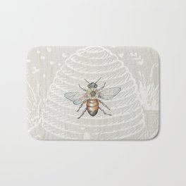 In the Bee Hive White on Wood Background Bath Mat