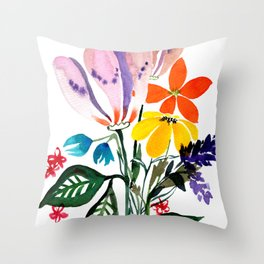 Loose Big Watercolor Flowers Throw Pillow