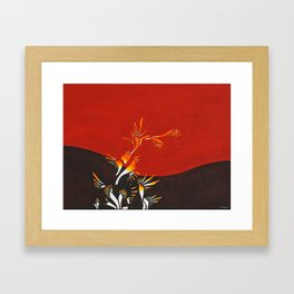 Halo, red abstract fire, NYC artist Framed Art Print