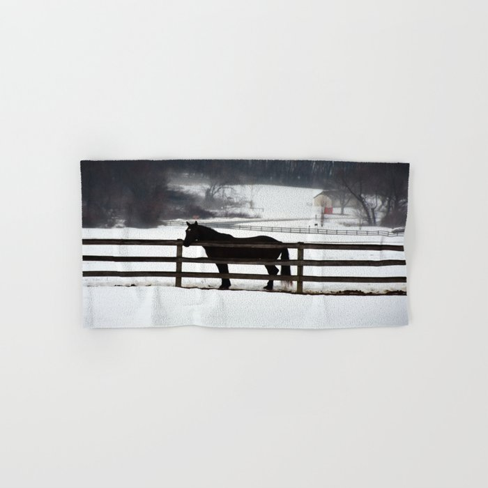Horse in the Winter Fog Hand & Bath Towel