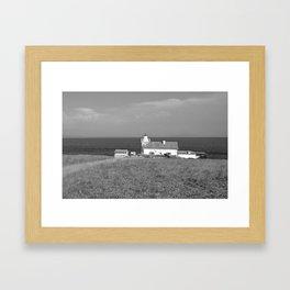 beach front lighthouse medulin croatia istria europe black white Framed Art Print