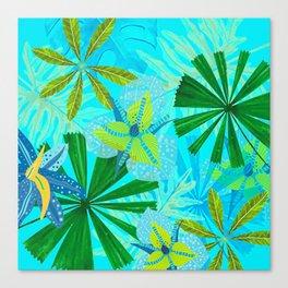 My blue abstract Aloha Tropical Jungle Garden Canvas Print
