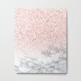 Pretty Rosegold Marble Sparkle Metal Print