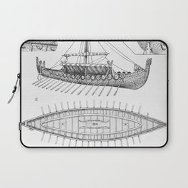 Vintage Viking Naval Ship History and Diagram Laptop Sleeve