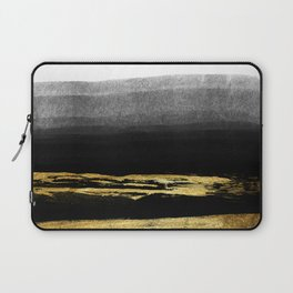 Black & Gold Stripes on White - Mix & Match with Simplicty of life Laptop Sleeve