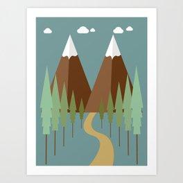 Two Peaks in Winter Art Print