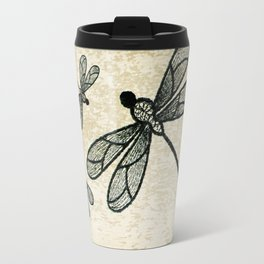 Dragonflies on tan texture Travel Mug
