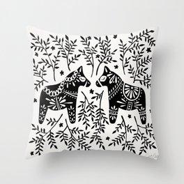 Swedish Dala Horses – Black Palette Throw Pillow