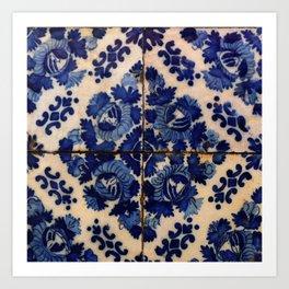 Blue old portuguese tile Art Print