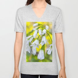 White woodland flora. Unisex V-Neck
