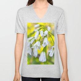 White woodland flora. Unisex V-Neck