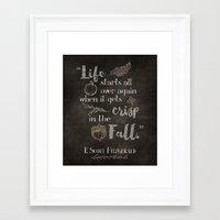 fitzgerald Framed Art Prints featuring Fall F. Scott Fitzgerald Quote by Yellow Bird Designs