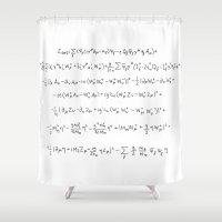 model Shower Curtains featuring Standard Model by Jill Schell