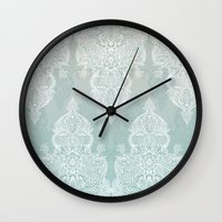 moroccan Wall Clocks featuring Lace & Shadows - soft sage grey & white Moroccan doodle by micklyn