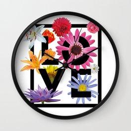 Love Flower Power Wall Clock