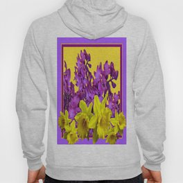 Sunny Yellow Daffodile Lilac  Purple Floral Art Hoody