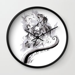 Poor Unfortunate Soul Inktober Drawing Wall Clock