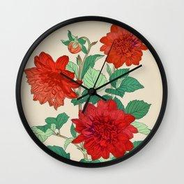 Red dahlias Wall Clock