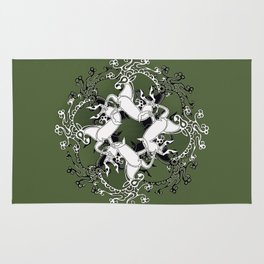 Celtic or Viking Deer Pattern - Green Rug