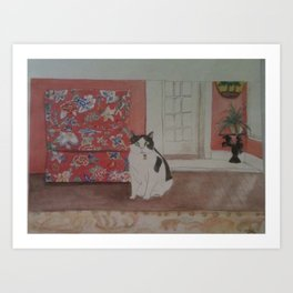 Cat with Floral Chair Art Print