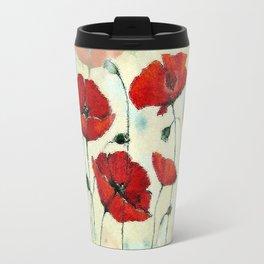 Red Poppy Garden Travel Mug