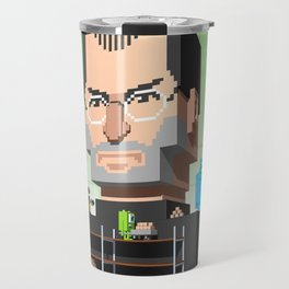 Steve Jobs 3D pixel portrait Travel Mug