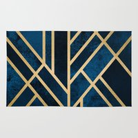 deco Area & Throw Rugs featuring Art Deco Midnight by Elisabeth Fredriksson
