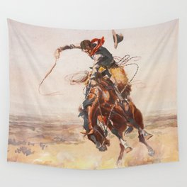 A Bad Hoss by Charles Marion Russell (c 1904) Wall Tapestry