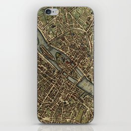 Old Paris Map and other manuscripts iPhone Skin