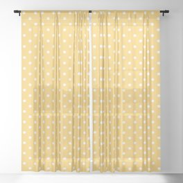 White Polka Dot on Honey Yellow Background Sheer Curtain