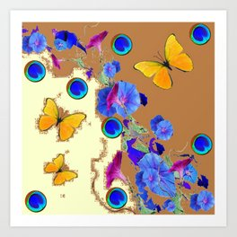 Blue Eyes Gold Butterflies Cream & Brown Color Art Print