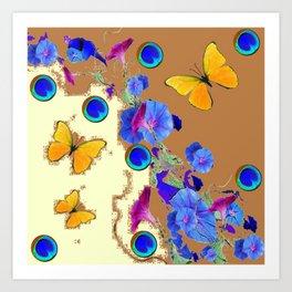 Blue Eyes Gold Butterflies Cream & Brown Color Art Print
