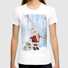 Santa Claus with funny penguin T-shirt