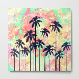 Colorful Neon Watercolor with Black Palm Trees Metal Print