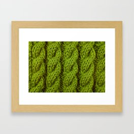 Green cable knitting stitch Framed Art Print
