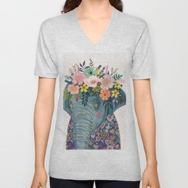 Elephant with flowers on head Unisex V-Neck