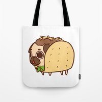 taco Tote Bags featuring Puglie Taco by Puglie Pug