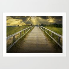 Boardwalk on the Beach with Radiant Sunbeams Art Print