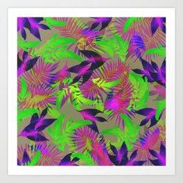 exotic green, pink and purple plants pattern Art Print