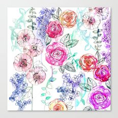 Pastel Rose Garden 02 Canvas Print