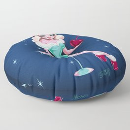 Cherry Holiday Martini Girl Floor Pillow