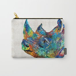 Rhino Rhinoceros Art - Looking Up - By Sharon Cummings Carry-All Pouch